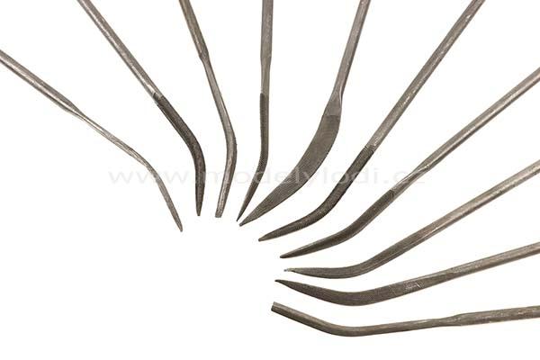 Sada zahnutých jehlových pilníků (10 ks)